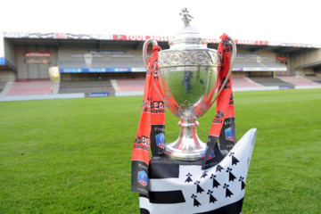 The Coupe de France (French Cup) trophy is pictured with the Breton flag at the Roudourou stadium in Guingamp, western France on May 4, 2014. Guingamp won the French Cup on saturday after defating Rennes 2-0. AFP PHOTO / JEAN-FRANCOIS MONIER        (Photo credit should read JEAN-FRANCOIS MONIER/AFP/Getty Images)