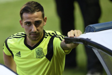 Spain's forward Paco Alcacer takes part in a training session at the Ciudad de Valencia stadium in Valencia on September 7, 2014, on the eve of the UEFA Euro 2016 group D qualifying football match Spain vs Macedonia.  AFP PHOTO / JOSE JORDAN