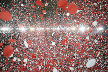 Confetti rains down inside the stadium during the trophy presentation Sevilla FC vs SL Benfica Li