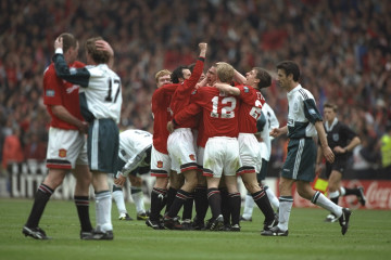 11 May 1996:  The Manchester United players celebrate as the final whistle blows after winning the F A Cup Final match against Liverpool at Wembley Stadium in London. Manchester United won the match 1-0.  Mandatory Credit: Clive  Brunskill/Allsport