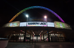 LONDON, UNITED KINGDOM - NOVEMBER 26: Wembley Arch Lights Up in Support of Rainbow Laces Campaign at Wembley Stadium on November 26, 2016 in London, England.  (Photo by Nicky J. Sims/Getty Images for The FA)