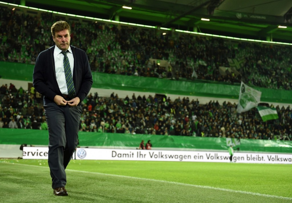 Dieter-Hecking-head-coach-of-Wolfsburg-looks-on