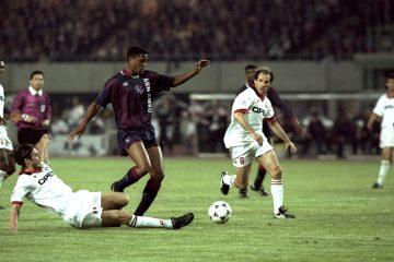Patrick Kluivert of Ajax and Franco Baresi of AC Milan