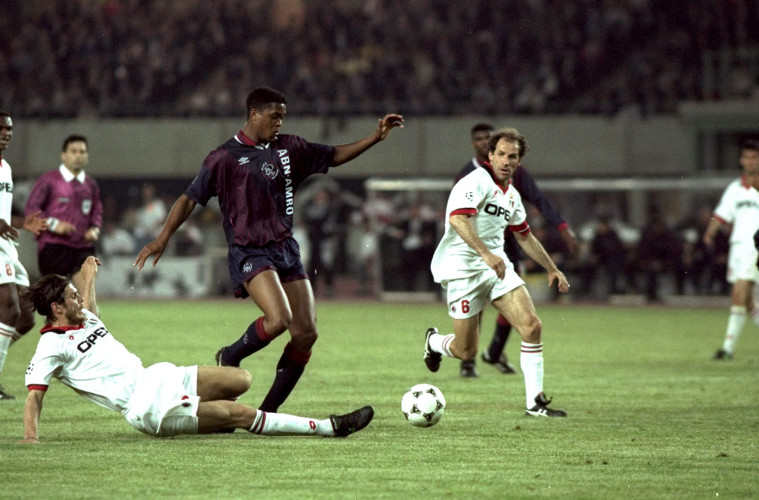 Patrick Kluivert of Ajax and Franco Baresi of AC Milan