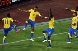 Aubameyang of Gabon celebrates his goal with his team mates after scoring against Burkina Faso during the 2015 African Cup of Nations soccer tournament Group A at Bata Stadium, in Bata