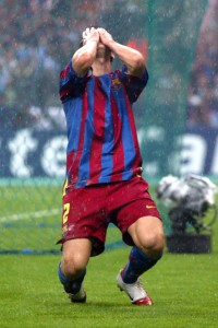 Barcelona's Juliano Belletti celebrates after scoring the second goal