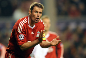 Liverpool's English defender Jamie Carragher reacts during their UEFA Champions League group E football match against Lyon at Anfield, Liverpool, north-west, England, on October 20, 2009. AFP PHOTO/PAUL ELLIS (Photo credit should read PAUL ELLIS/AFP/Getty Images)
