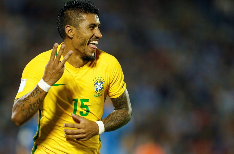 Football Soccer - Uruguay v Brazil - World Cup 2018 Qualifiers - Centenario stadium, Montevideo, Uruguay - 23/3/17 - Brazil's Paulinho celebrates his third goal. REUTERS/Andres StapffCODE: X01386