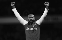 File phhotograpah shows Arsenal's Thierry Henry celebrating at the final whistle after his goal helped to beat Leeds United in their FA Cup soccer match at the Emirates Stadium in London